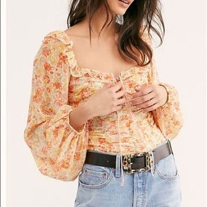 Free People Mabel Printed Lace Up Top